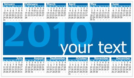 Colorful illustration of 2010 year calendar. Horizontal orientation Vector