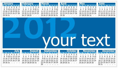 Colorful illustration of 2012 year calendar. Horizontal orientation Vector