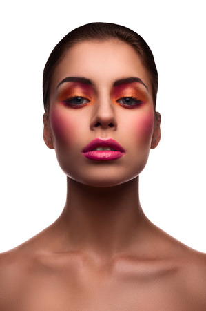 eyelids: Beautiful female fashion model with pink lips and blush and glossy eyelids Stock Photo