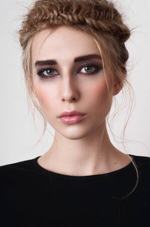 smoky eyes: Beauty girl with smoky eyes and pigtails