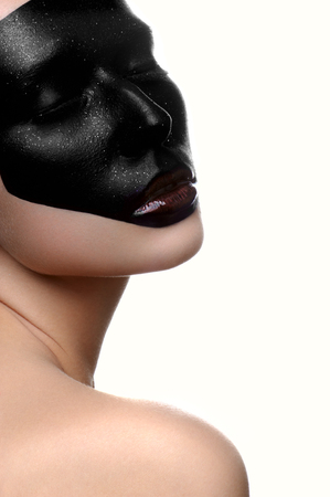 dark face: Fashion beauty female model with dark face on white skin