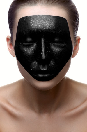 dark face: Fashion beauty girl with dark face on white skin Stock Photo