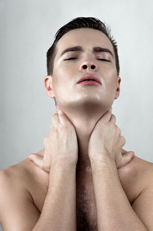 perspiring: Fashion beauty caucasian model with drops on face Stock Photo