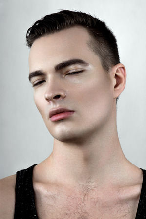 perspiring: Perspiring beauty male model Stock Photo