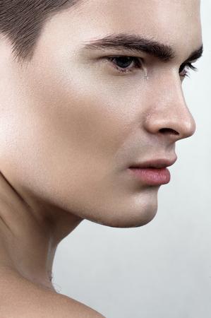 perspiring: Fashion beauty perspiring male model