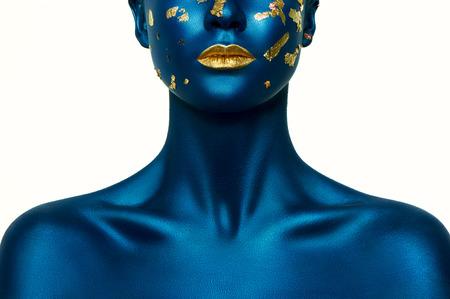 뷰티 패션 모델에 블루 할로윈 메이크업입니다. 스톡 콘텐츠