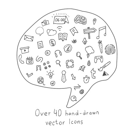 topics: Collection of more than 40 Hand drawn Icons on different Topics. Sketched vector doodle Set