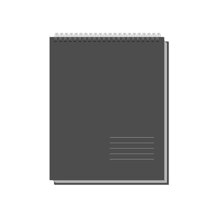 Black Copybook Template isolated on white Background. Vector Illustration