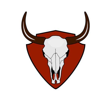 cranial skeleton: Cow Skull on red Shield. Bector Bull Head Bone. Wild West Culture vintage Label