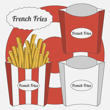 potato chip: Vector Set of French Fries Boxes. Empty and full, stripped Box and not Illustration