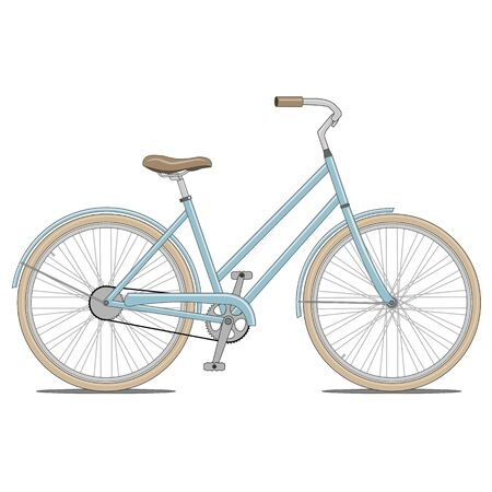saddle: Blue Bike with brown Handles and Saddle Vector Illustration