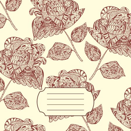 notebook cover: Design of Notebook Cover with hand-drawn Doodle ethnic Flowers Pattern. Vector Illustration