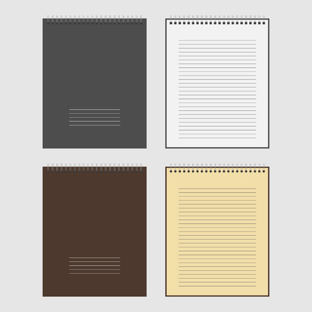 spiral notebook: Vector Set of open and closed spiral Notepad Notebook with white lined pages Illustration