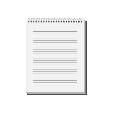 spiral notebook: Blank spiral Notepad Notebook with white lined pages. Illustration Stock Photo