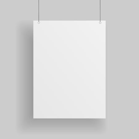 hoja en blanco: Página en blanco de papel blanco que cuelga sobre fondo gris. Prototipo vacío de papel blanco