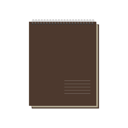 spiral binding: Brown Notepad Template isolated on white Background. Illustration Stock Photo