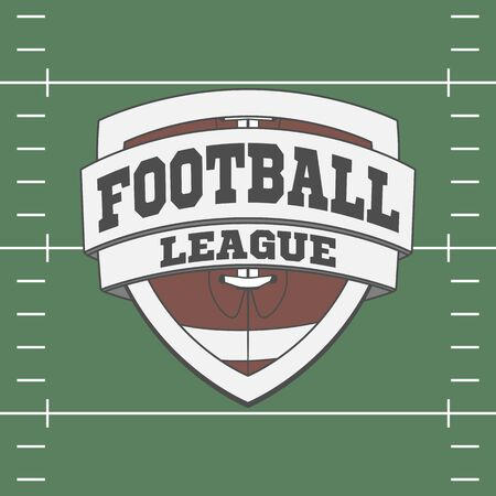 professional football: Design of graphic Football Label on green Field Background