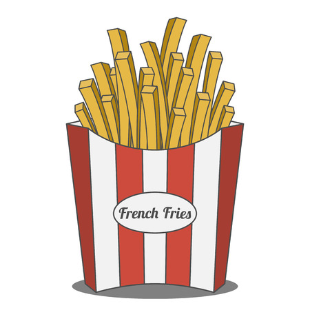 fastfood: French Fries in red and white striped paper Box. Fastfood Design