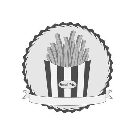 french label: Graphic Label with French Fries. Fast junk Food in paper Pack Stock Photo