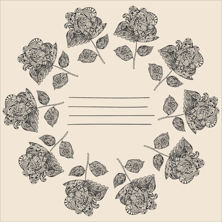 book design: Notebook Cover with hand-drawn Flowers around the Lines for Text. Illustration