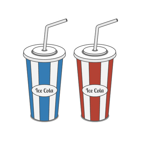 plastic straw: Red and blue srtiped plastic Glass with Straw for ice cold Cola