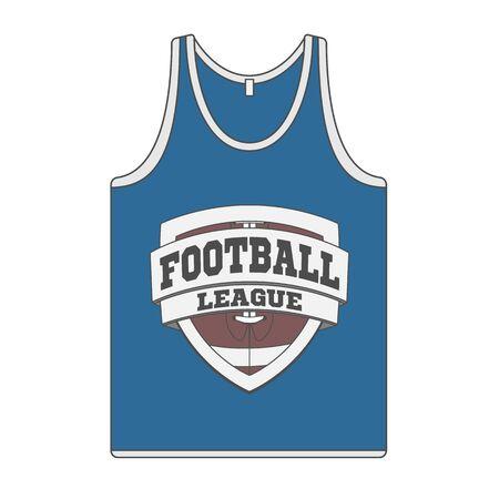 sleeveless: Sleeveless blue Shirt with Football Label. Singlet  Illustration