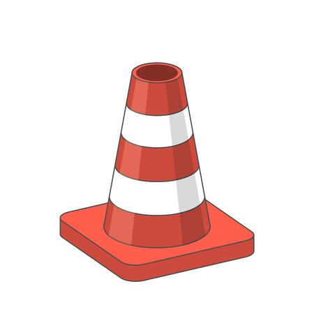 road works ahead: Illustration of Road Traffic plastic orange Cone