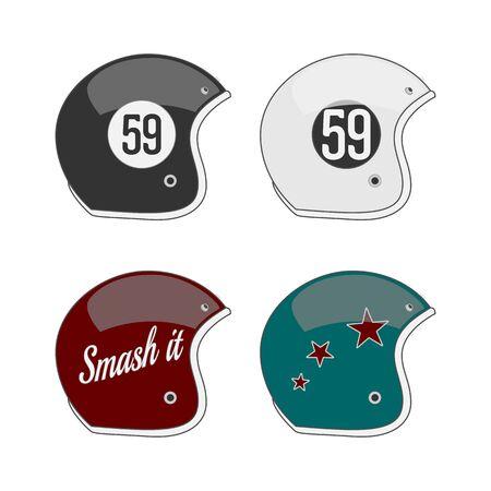 football helmets: Set of four colored american Football Helmets