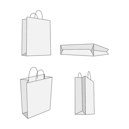 white paper bag: Set of four graphic white paper Bag. Empty Package for your Branding Stock Photo