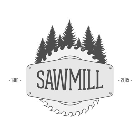 Vintage Label of Sawmill. Woodworking Company Badge