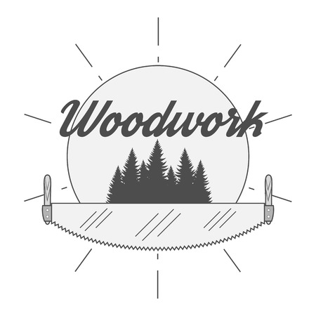 tree services company: Retro Badge for woodwork Industry. Woodworking Company Label Stock Photo