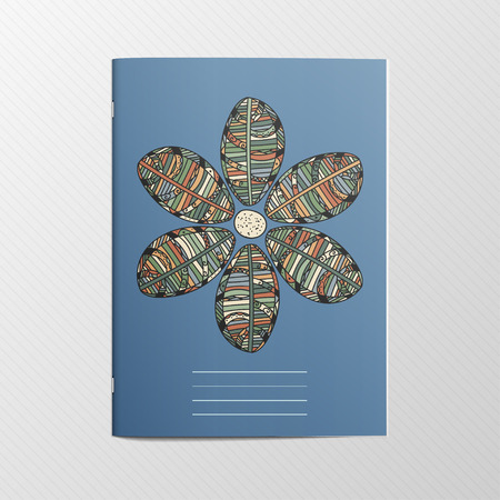 notebook cover: Notebook Cover with Flower Ornament. Editable Template Design for Organizer or Postcard