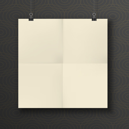 square sheet: Paper square Sheet folded in four and hanging on Binder Clip. Ready for Design
