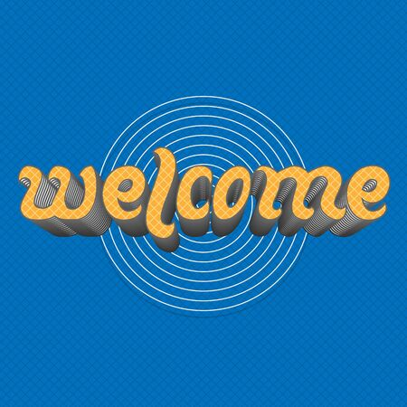 locution: Welcome - handwritten yellow Lettering Text on blue Background. Vintage hand drawn Letter Design Illustration