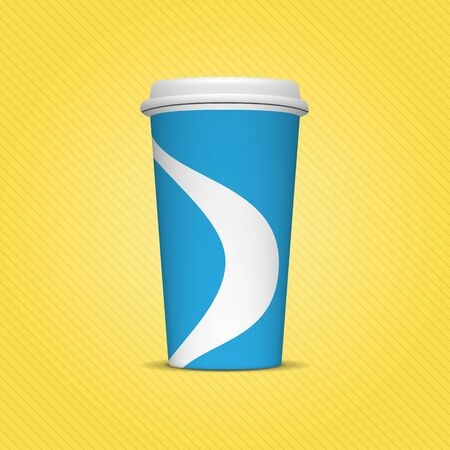 hot and cold: Realistic blue and white Paper Cup Template for Soda or cold Beverage on yellow Background. Mockup ready for your Design and Advertising Stock Photo