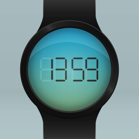 accessory: Design of Black Smart Watch. Realistic digital Device Accessory
