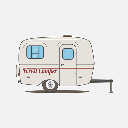 trailers: Colorful vintage Rv Car. Retro recreational Vehicle Camper Van.  Isolated Caravan mobile Home for Travel Design Illustration