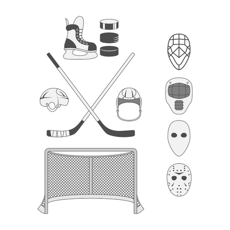 hockey goal: Vector Set of Hockey Elements like a Goal, Stick, Puck, Mask, Helmet and Skate. Sport Equipment for Your Design