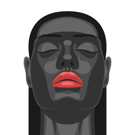 closed mouth: Fashion Beauty female Model with Black Skin, closed Eyes and Red Lips. Artistic Makeup on Face