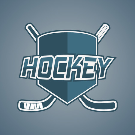 hockey players: Blue Hockey Team logo with Sticks and Shield. Modern Design Elements for your Label or Badge Illustration