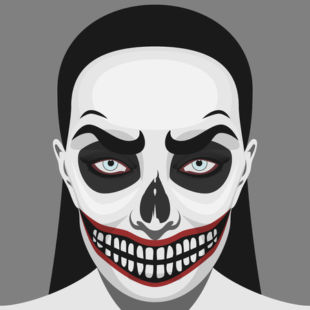 hair mask: Illustration of Halloween Makeup. Beauty Woman with scary Skull on her Face
