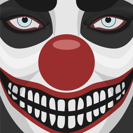 clown nose: Evil Clown smiling Face with red Nose. Spooky Character Halloween Illustration