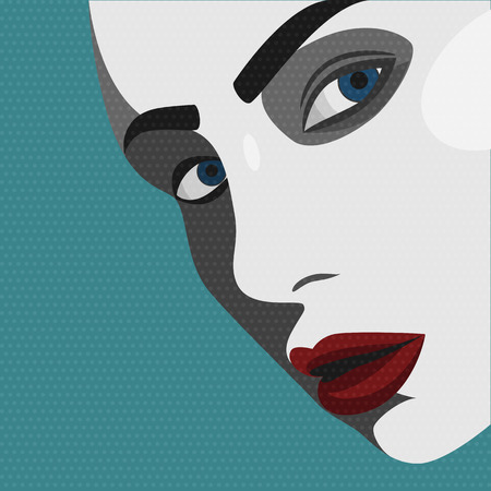 stylish woman: Beauty Pop Art young Woman with red Lips. Vector Illustration Illustration