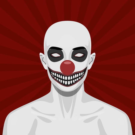 scary clown: Bald scary Clown with smiling Face. Halloween Vector Illustration