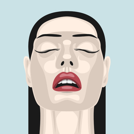closed mouth: Fashion beauty brunette Woman with open Mouth, closed Eyes and red Lips. Makeup Illustration Illustration