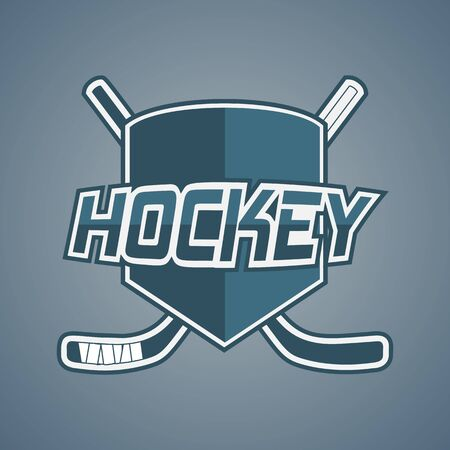 Blue Hockey Team icon with Sticks and Shield. Modern Design Elements for your Label or Badge