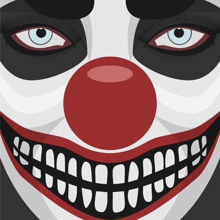 nariz roja: Payaso malvado sonriente cara con la nariz roja. Car�cter Spooky Ilustraci�n de Halloween