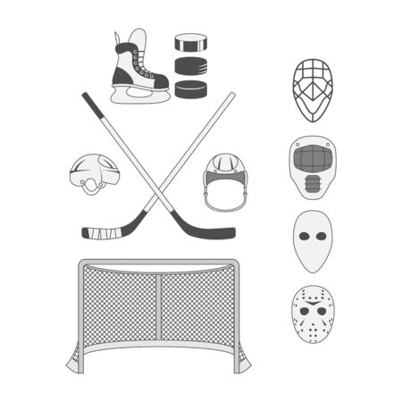 hockey goal: Set of Hockey Elements like a Goal, Stick, Puck, Mask, Helmet and Skate. Sport Equipment for Your Design Stock Photo