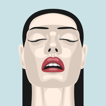 closed mouth: Fashion beauty brunette Woman with open Mouth, closed Eyes and red Lips. Makeup Illustration Stock Photo