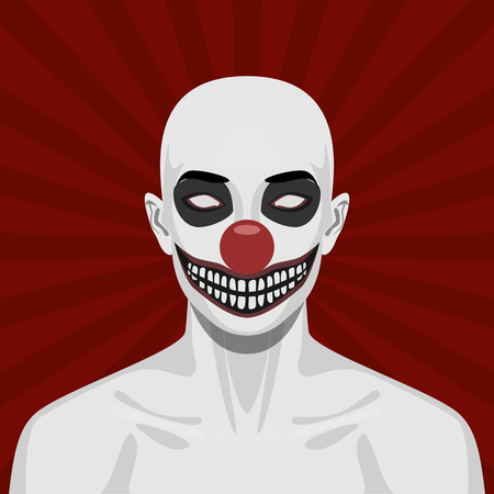 spooky eyes: Bald scary Clown with smiling Face. Halloween Illustration